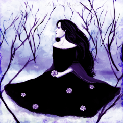 Violet waiting in the snow. Artist: elnawen.deviantart.com